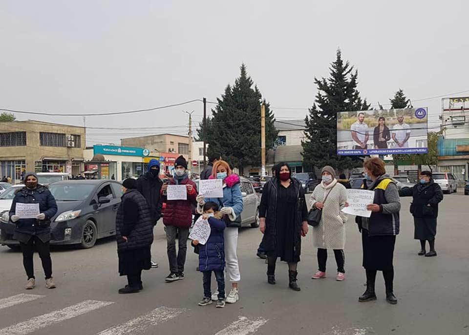 Street traders block road in Rustavi