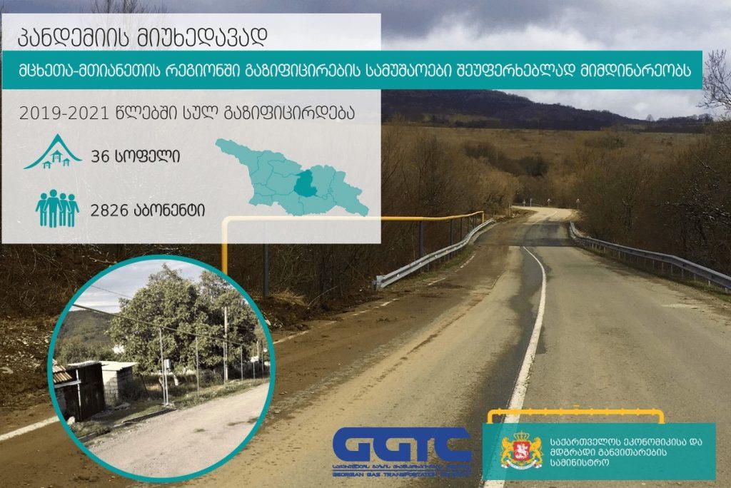 გაზის ტრანსპორტირების კომპანია - გაზიფიცირების პროექტი დუშეთის მუნიციპალიტეტის 11 დასახლებულ პუნქტში მიმდინარეობს