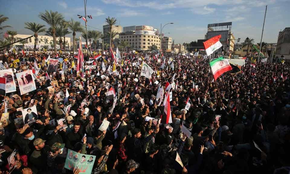 ირანელი გენერლის მკვლელობის წლისთავზე ერაყში ანტიამერიკული აქცია გაიმართა