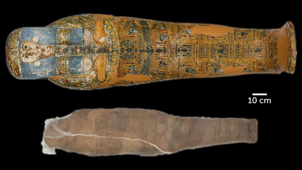ძველეგვიპტური მუმია სხვის სარკოფაგშია მოთავსებული და დაკრძალულია სახვევებით, რომლის მსგავსიც არქეოლოგებს ჯერ არ უნახავთ — #1tvმეცნიერება