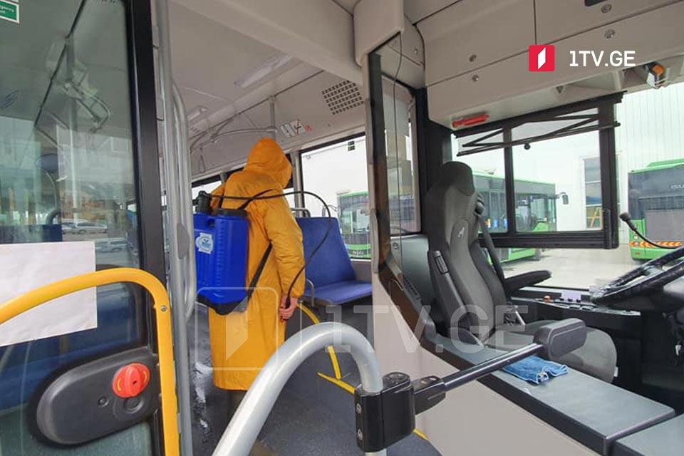 თბილისში მეტროსადგურების, მეტროს ვაგონებისა და ავტობუსების დეზინფექცია ჩატარდა