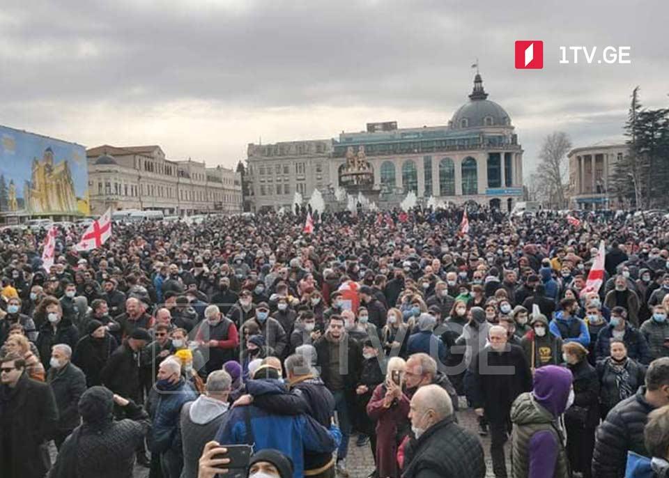 Сегодняшний митинг против строительства Намахванской ГЭС в Кутаиси завершился