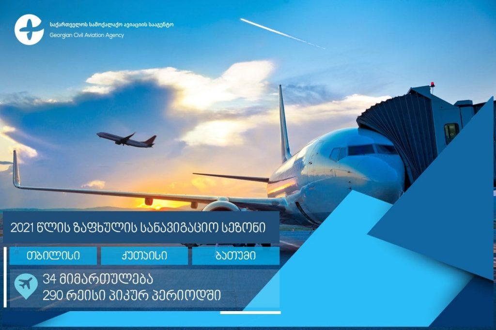 სამოქალაქო ავიაციის სააგენტომ 2021 წლის ზაფხულის სანავიგაციო სეზონის ფრენის განრიგი დაამტკიცა