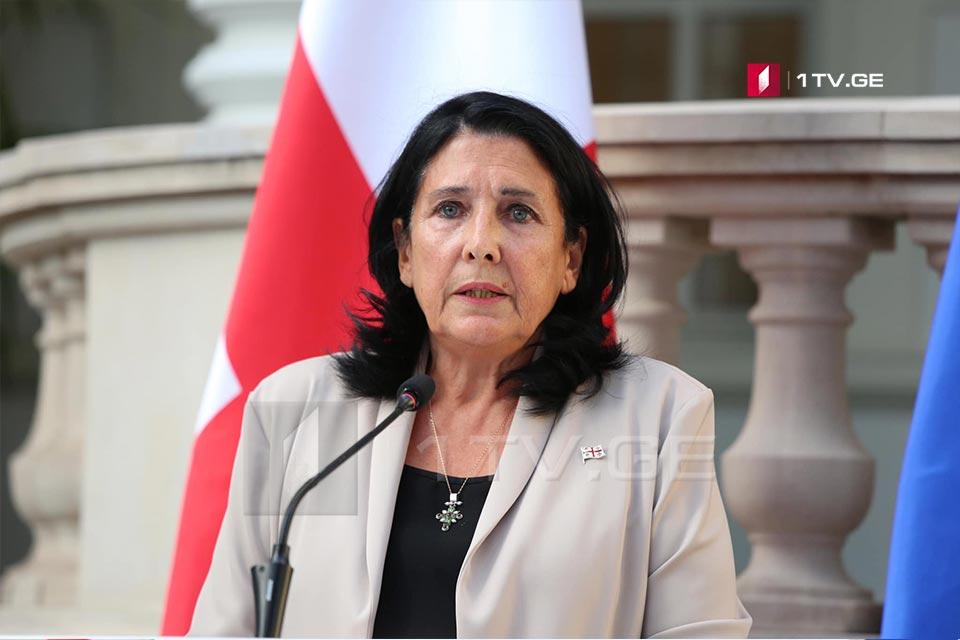 სალომე ზურაბიშვილი ევროპული საბჭოს პრეზიდენტს, შარლ მიშელს გაწეული ძალისხმევისთვის მადლობას უხდის