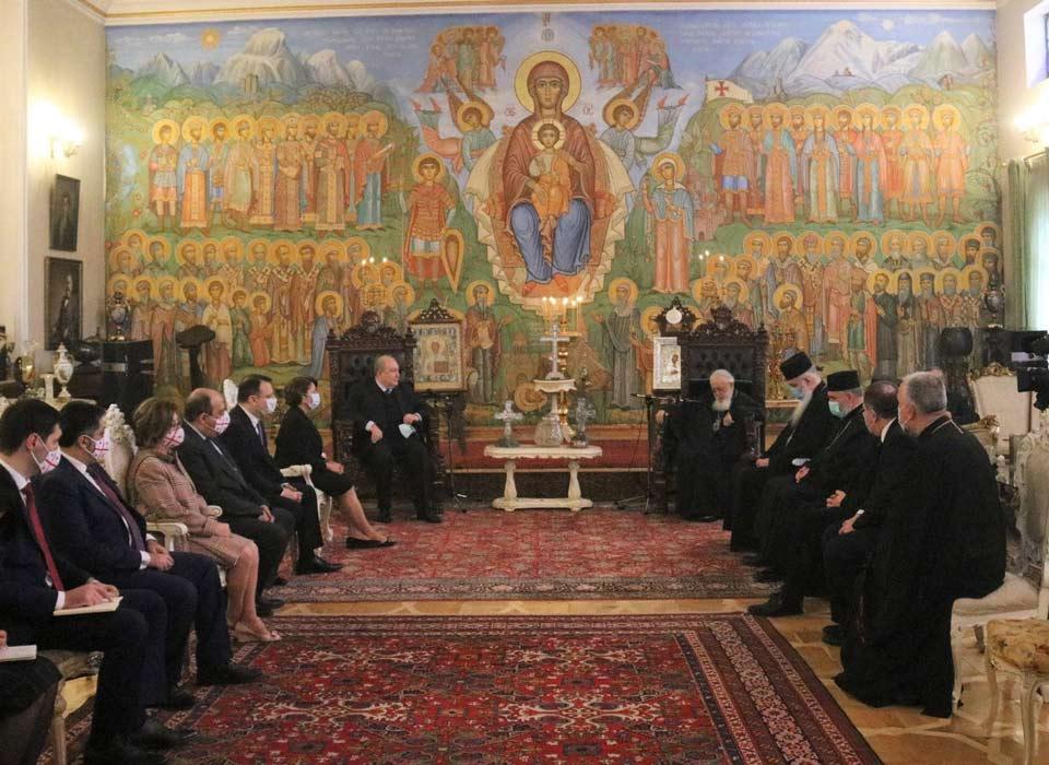 საქართველოს კათოლიკოს-პატრიარქი სომხეთის პრეზიდენტს შეხვდა