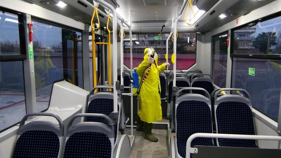 ფოთში საზოგადოებრივი ტრანსპორტი სპეციალური სადეზინფექციო ხსნარებით დამუშავდა
