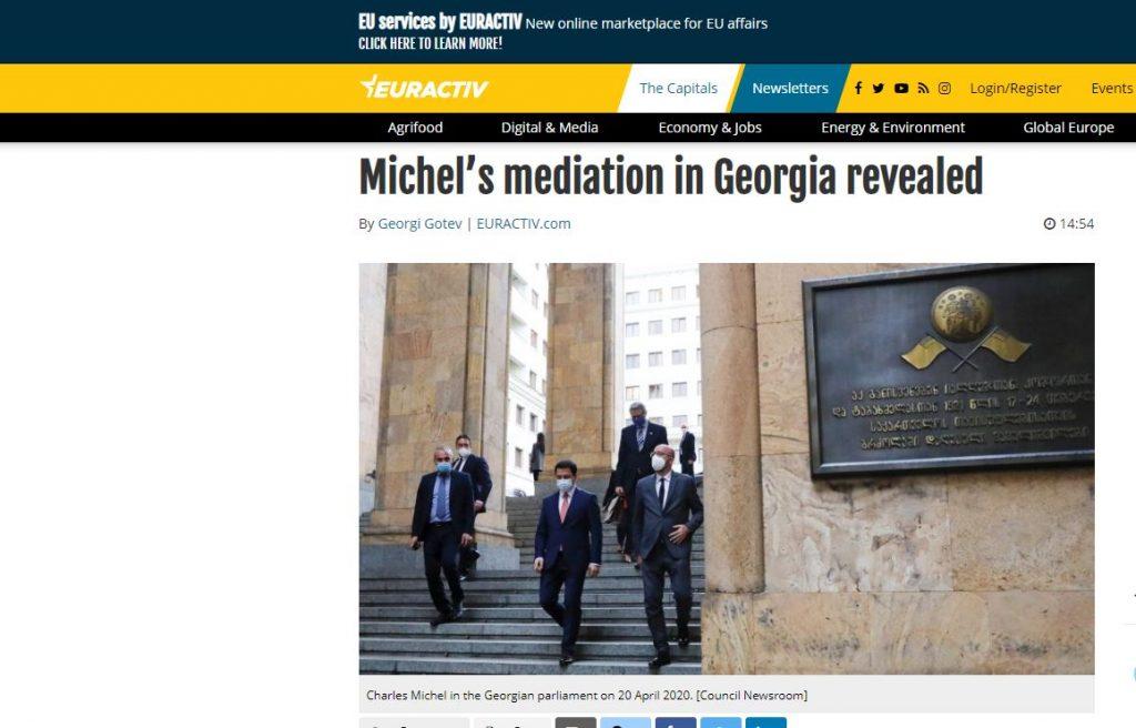 """""""ევრაქტივი"""" - შარლ მიშელმა მედიაციაზე დათანხმებით ეგზისტენციალური რისკი იტვირთა, ევროკავშირისთვის გადამწყვეტი იყო, ეჩვენებინა, რომ აღმოსავლეთ სამეზობლოში ქაოსის დარეგულირება შეუძლია"""