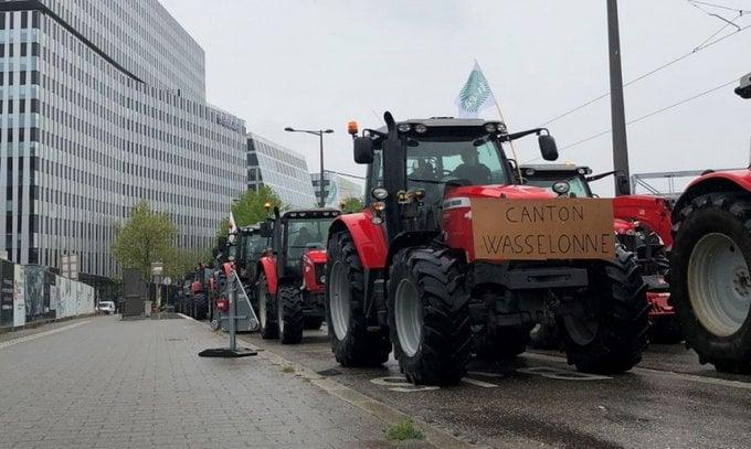 ფრანგი ფერმერები სტრასბურგში, ევროპარლამენტის შენობასთან სოფლის მეურნეობის დაფინანსების ახალი წესების გასაპროტესტებლად ტრაქტორებით მივიდნენ