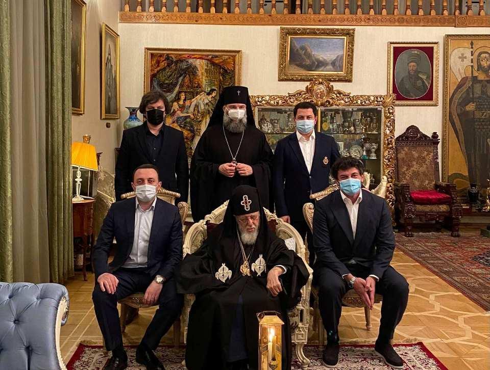Ираклий Гарибашвили, Каха Каладзе, Ираклий Кобахидзе и Арчил Талаквадзе поздравили Патриарха с Пасхой