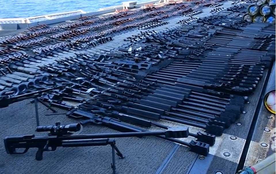 """""""დოიჩე ველე"""" - აშშ-ის სამხედრო საზღვაო ძალებმა არაბეთის ზღვაში დაკავებული გემიდან დიდი რაოდენობით ჩინური და რუსული წარმოების იარაღი ამოიღეს"""