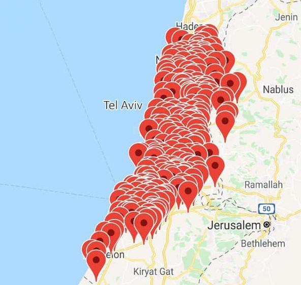 ისრაელის თავდაცვის სამინისტრო ფოტოს აქვეყნებს, რომელზეც ის ადგილებია მონიშნული, სადაც ბოლო ნახევარი საათის განმავლობაში განგაშის სიგნალი ჩაირთო