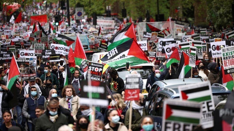 """""""ალ ჯაზირას"""" ცნობით, მსოფლიოს რამდენიმე ქალაქში პალესტინელთა მხარდასაჭერად აქციები გაიმართა"""