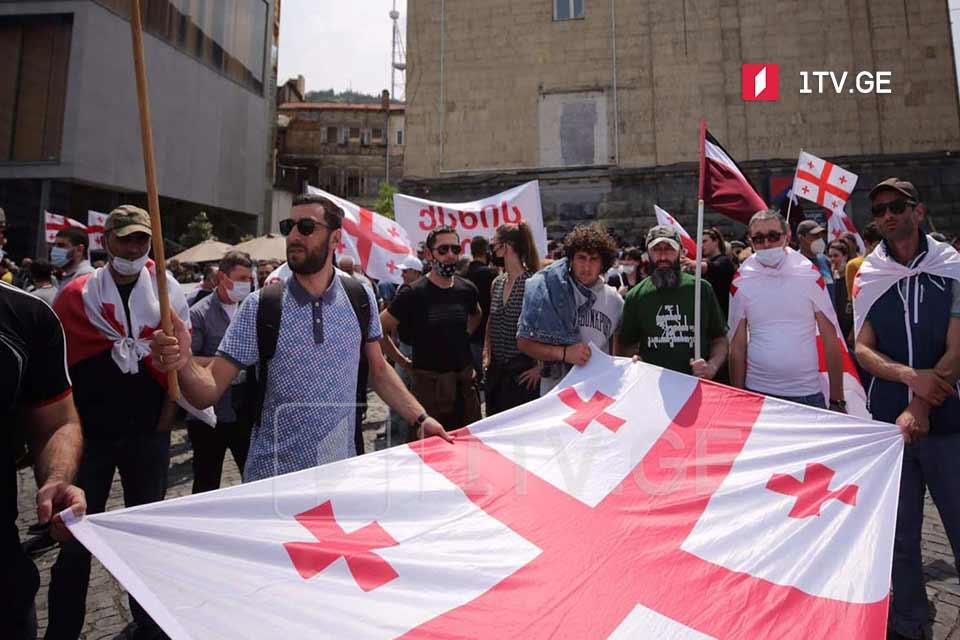 В Тбилиси на площади Первой Республики проходит акция против строительства Намахванской ГЭС (фото)