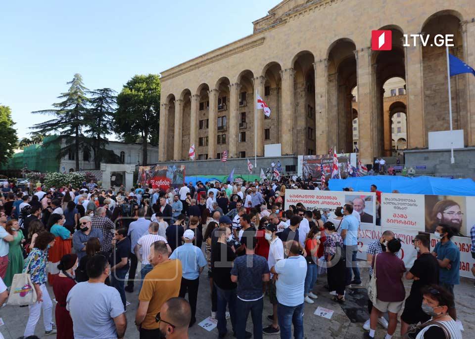 პარლამენტთან 20 ივნისის მოვლენებისას დაზარალებულები, სამოქალაქო აქტივისტები და პოლიტიკოსები აქციას მართავენ