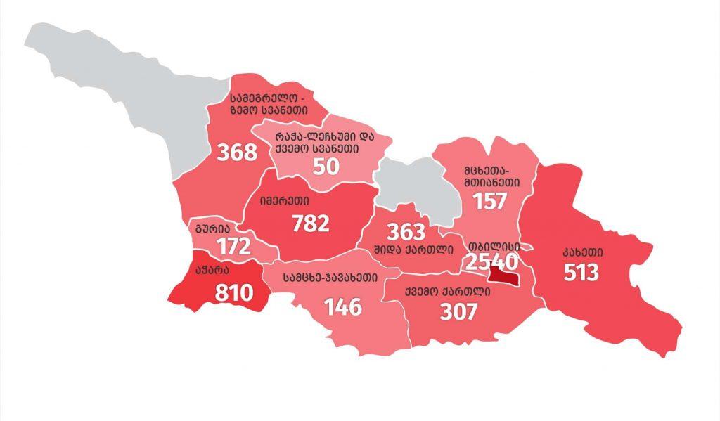 კორონავირუსის ახალი შემთხვევებიდან 2 540 თბილისში გამოვლინდა, 810 აჭარაში, 782 იმერეთში