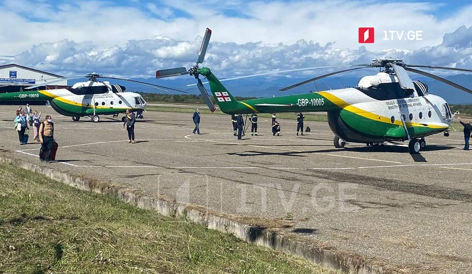 Tourists and locals from landslide-hit Tusheti brought by helicopters