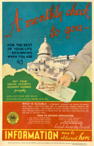 აშშ, სოციალური დაზღვევის საინფორმაციო პლაკატი, 30-იანი წლები